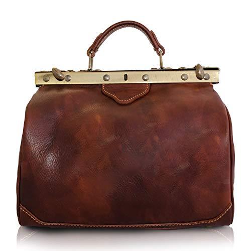 Vintage Italienische Echt Geöltes Leder Arzttasche, Reisetasche, Wochenendetasche, DREI Gr. M-L-XL, Marrone (M) 32x24x22