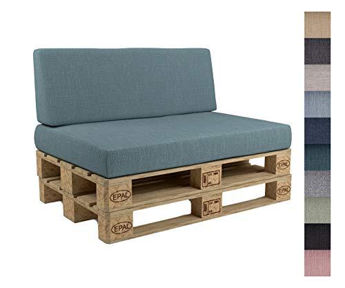 POKAR Cuscini per Pallet sfoderabili, Set di 2: 1x Cuscino per Seduta 120x80cm + 1x Cuscino per Schienale 120x40cm, Divano per Pallet con Cuscino per Pallet, Senza Pallet, Blu