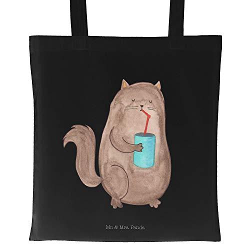 Mr. & Mrs. Panda Einkaufstasche, Shopper, Tragetasche Katze Dose - Farbe Schwarz