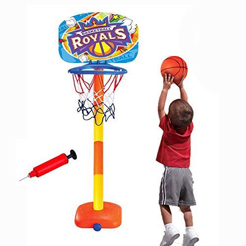 Hamkaw Basketballkorb für Kinder, tragbar, Mini-Basketballkorb, für drinnen, Set Basketballständer, Basketball und Pumpe, Höhe bis 110 cm