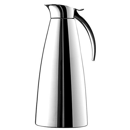 Emsa 502664 ELEGANZA Pichet isotherme, fermeture easy open, acier inoxydable, 1,3 L
