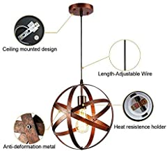 Vintage Industrial Spherical Pendant Light Metal Globe Chandelier Retro Cage Ceiling Light Rustic Hanging Light Fixture for Living Room Dining Room Hallway #1
