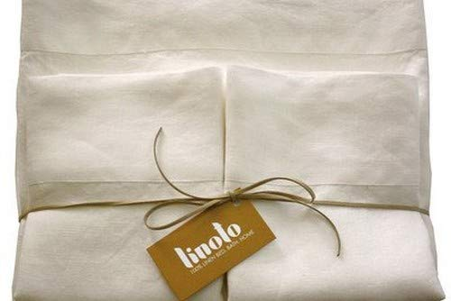 Great Price! Linoto 100% Pure Belgian / Italian Flax Linen Bed Sheet Set - Handmade - Natural 4 Piec...