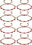 CASSIECA 8Pcs Pulsera Roja 7 Nudos Amuleto del Kabbalah Pulsera Cordón Pulsera Hilo Rojo de la Suerte Unisex Pulsera Ajustable para Mujeres Hombres Tibetano Pulsera Amistad