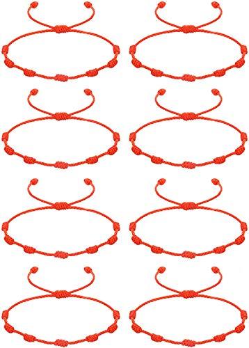 CASSIECA 8 Pcs Pulsera Roja 7 Nudos Amuleto del Kabbalah Pulsera Cordón Pulsera Hilo Rojo de la Suerte Unisex Pulsera Ajustable para Mujeres Hombres Tibetano Pulsera Amistad