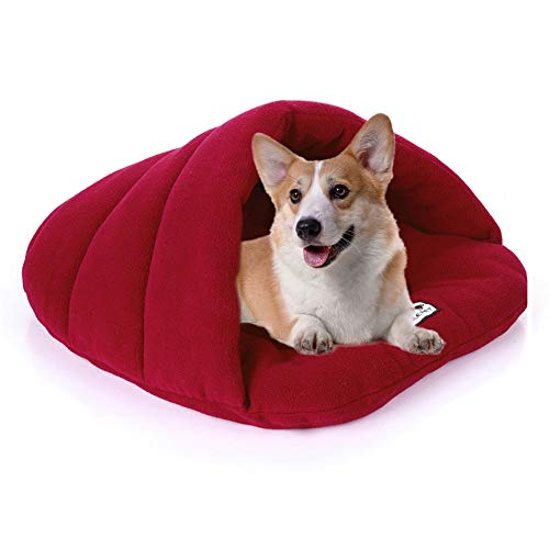 YiCTe Dog Sleeping Bag Packable Dog Bed Kennel Cat Bed Nest Cuddler House Puppy Hole Cave Polar Fleece Cushion Bed for Small Medium Large Dogs Cats, Wine Red L(26.7x22.8 inches)/(68x58 cm)