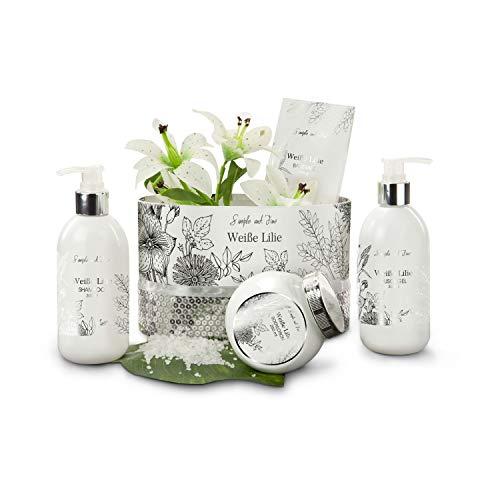 Römer Wellness Geschenkset: Weiße Lilie, 5-teilig: 100 g Badesalz, 300 ml Duschgel, 300 ml Shampoo, 250 ml Bodylotion im Duft weiße Lilie + Schmuckkarton, 1450 g