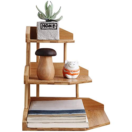 Fauge Bamboo Spice Rack Corner Shelves-3 Tier Standing Pantry Shelf for Kitchen Counter StorageBathroom Countertop Storage