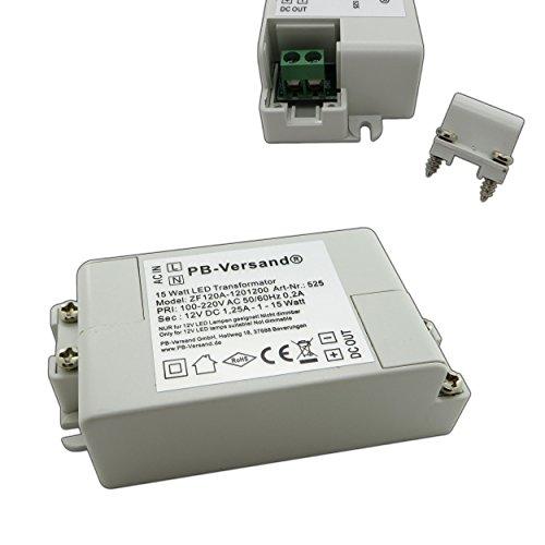 LED Trafo 15 Watt 12V DC Gleichspannung Netzteil Treiber Transformator Driver Niedervolt LED-Transformator klein & flach - ohne Mindestlast