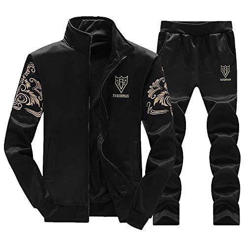 KPILP Herren Hoodie Winter Warm Vlies Reißverschluss Brief drucken Lässiger Pullover M-4XL Verdicken Jacke Plus SAMT Outwear Mantel Top Hosen Sätze (E-schwarz,EU-52/CN-L)