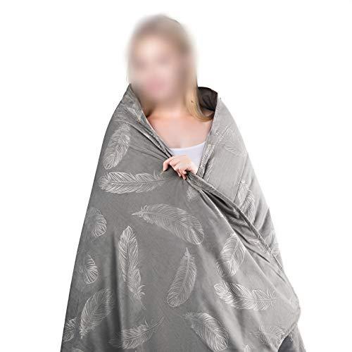 Laneetal Schwerkraftdecke Gewichtsdecke abnehmbare Therapiedecke aus Flanellbezug und Baumwolle mit Glasperlen,Federmuster Schwere Decke für Erwachsene,Schlafstörungen wirksam verbessern,150x200cm 7kg