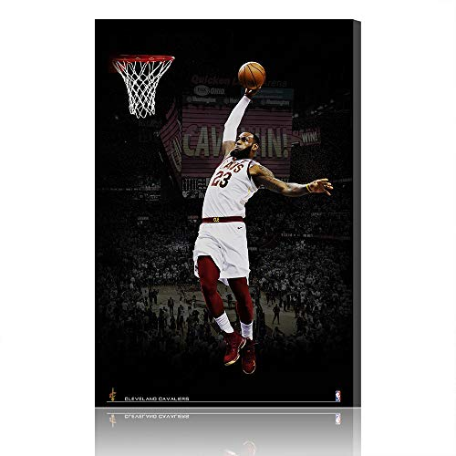 Cave Lebron James Cleveland Cavaliers Canvas Prints NBA Poster Immagine Opera Uomo (Prints 25,80x120cm)