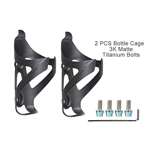 QFDYEQF128 Full Carbon Fiber Bicycle Water Bottle Cage MTB Road Bike Bottle Holder Ultra Light Cycle Equipment Matte/Light FIYRPKOO (Color : Matte2 Ti Bolts)