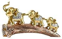 置物 3つの象の像樹脂の彫刻の造船造りの家の装飾事務所Feng Shuiアクセサリーギフト動物の置物 彫刻工芸 (Color : Gold)