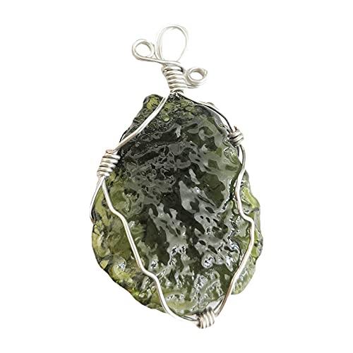 SM SunniMix Collar de Cristal de moldavita, Colgante de Piedra Irregular Piedra de energía de Cristal Natural con Cuerda, diseño Ingenioso y Mano de Obra única