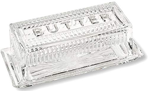 Bezrat Glass Butter Dish with Lid | Classic 2-Piece Design Butter Keeper | Covers and Holds a Standard Stick of Butter | Dishwasher Safe