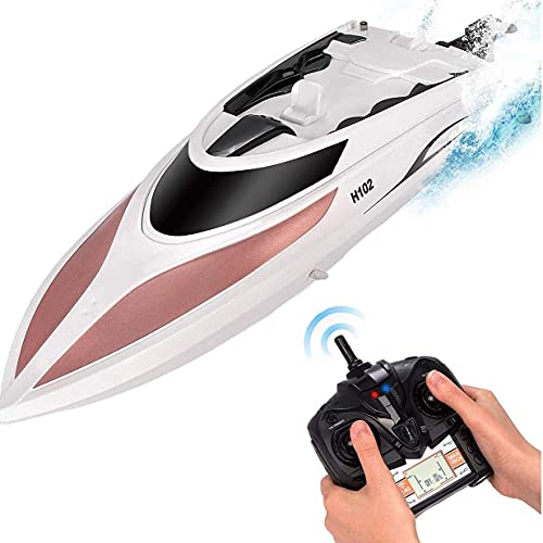 RC Boat - Remote Control Boat for Kids and Adults – 20 MPH Speed – Durable Structure – Innovative Features – Incredible Waves – Pool or Lake - 4 Channel Racing – 2.4 GHz Remote Control - H102 Model
