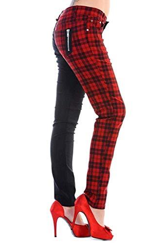 Banned Tartan Karo Emo Punk Geteilte Beine Roten Enge Hose Für Damen - Rot (M - 38)