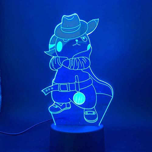 Speel Pokemon Go Cowboy Pikachu met hoed figuur kinderen nachtlampje slaapkamer sfeer touch sensor 3D LED nachtlampje lamp Drop Ship