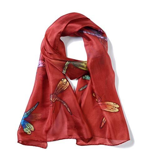 Invisible World – Damen Seidentuch handbemalt Libellen – langes Halstuch Kopftuch und Haartuch – Rot-Braun