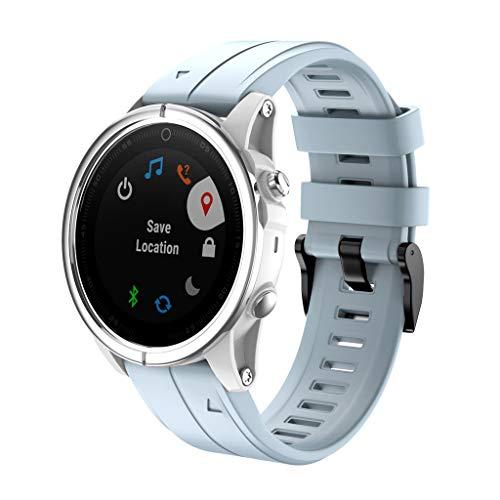 MuSheng Ersatz für Garmin Fenix 5S / Fenix 5S Plus Armband GPS-Fitness-Smartwatch wechselarmband Sport-Silikon-Ersatzuhrarmband mit für Garmin Fenix5S / Fenix5S Plus … (Hellblau)