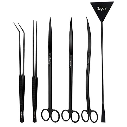 Aquascape Tools, Segarty 6 in 1 Stainless Steel Aquatic Plant Tweezers Scissor Spatula for Planted Freshwater Aquarium Aquascaping Landscaping Cleaning Tools Set & Fish Starter Kit