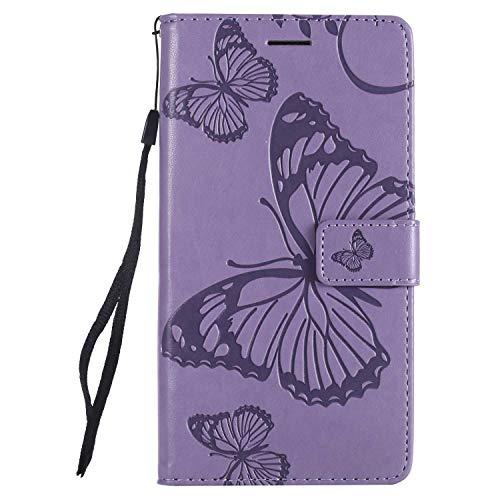 DENDICO Hülle für Xiaomi Redmi Note 5A, PU Leder Handyhülle Schutzhülle mit Standfunktion & Kartenfach für Xiaomi Redmi Note 5A - Violett