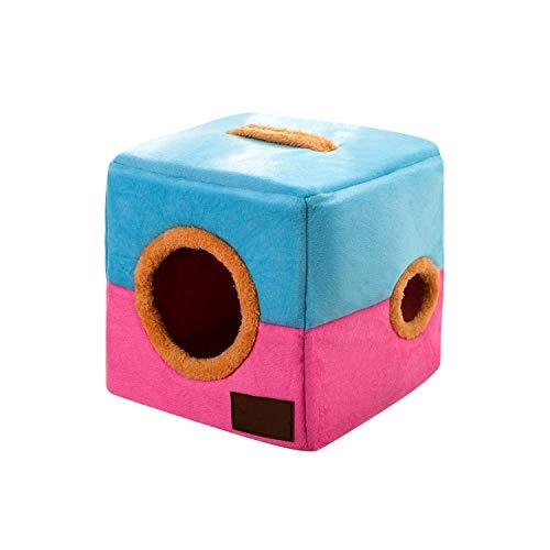 LIYONG Robes Animaux Chiens Lits Niche for Chien Confortable for Petit Moyen Chiens d'hiver Réchauffez Place Cat Bed Belle Puppy Nest Pet Products-Bleu Brun-S HLSJ (Color : Blue Pink, Size : M)