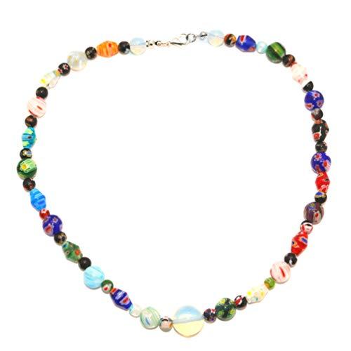Holibanna Handgemachte Perlenkette Muranoglas Halskette Mehrfarbige Blume Opal Halskette DIY Choker Halskette Schmuck für Frauen