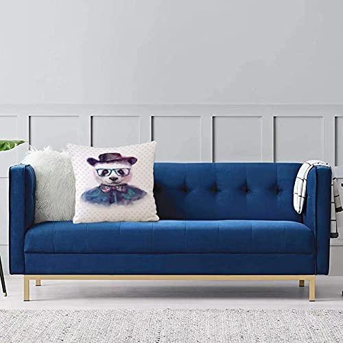 Set de 1 x Funda de Almohada 45x45 cm,Divertido, Vintage Hipster Panda con Pajarita, Sombrero de Dickie, Gafas con Montura de Cuerno, eFundas de Cojines de Calidad con una Suavidad Incomparable