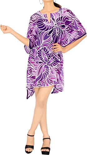Ropa de Playa de la Gasa de caftán Cubrir Las Mangas del Casquillo del Traje de baño del Vestido más el tamaño del Traje de baño del Kimono Violeta Ropa de Playa