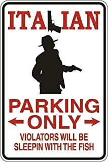 Kevin Porter Tin Sign New Metal Sign Funny Wall Decor Italian Parking Violators Sleepin' with The Fish Vintage Sign for Garage Home Yard Fence Driveway 11.8