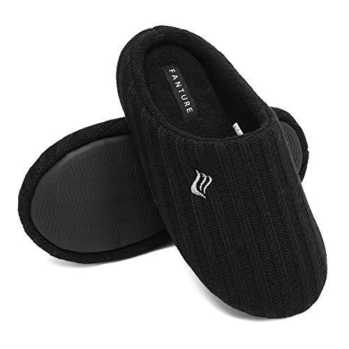 FANTURE Zapatillas de casa de las mujeres de espuma viscoelástica de cachemira mezcla de algodón de punto otoño invierno antideslizante, color Negro, talla 38/39 EU