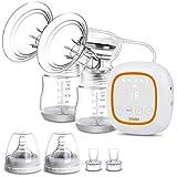 Bomba de pecho eléctrica, doble mama, bomba de lactancia portátil de doble succión con pantalla LED táctil, bomba de leche recargable ultra silenciosa para viajes y hogar, sin BPA
