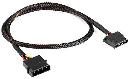 Poppstar Molex Verlängerung (60cm Molex Verlängerungskabel (4-Pin Stromkabel, Stecker auf Buchse)), gesleevt, schwarz