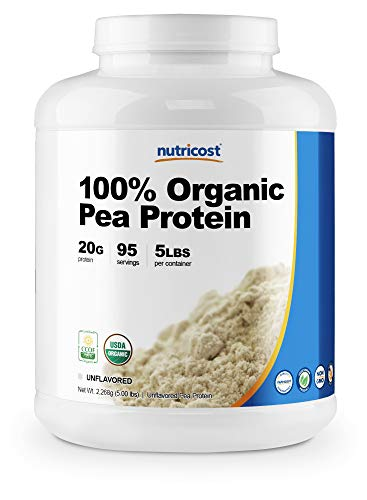 Nutricost Organic Pea Protein Isolate Powder (5LBS) - Unflavored, Certified USDA Organic, Protein from Plants, Vegetarian Friendly, Gluten Free, Non-GMO