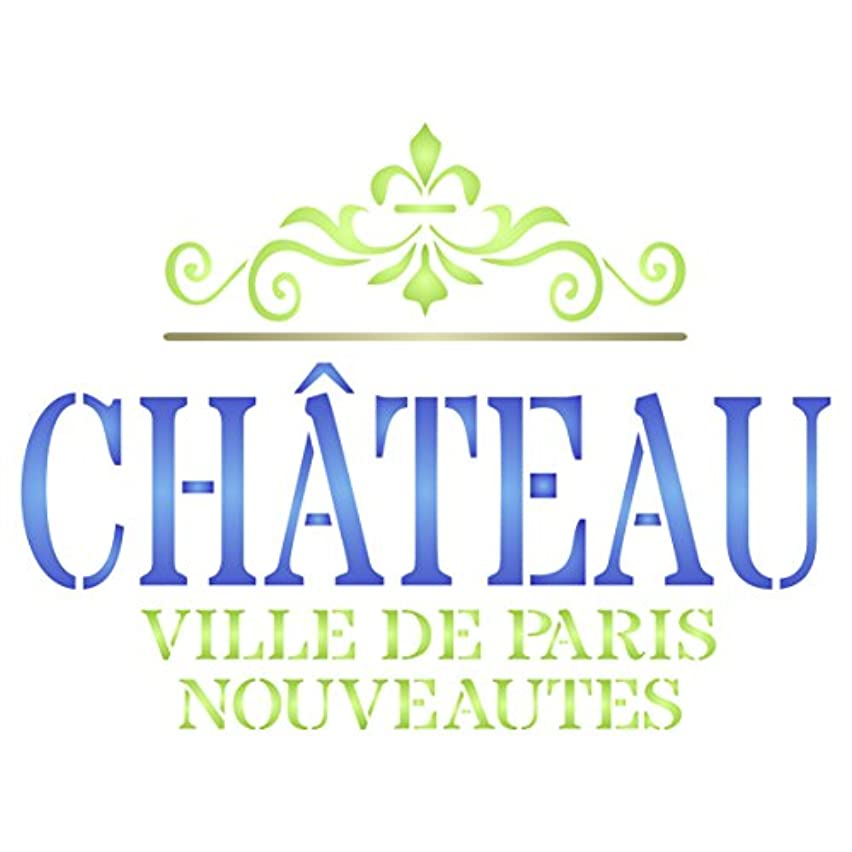 Chateau Stencil - 10.5 x 8 inch (L) - Reusable Vintage French Wine Themed Word Wall Stencils for Painting - Use on Paper Projects Scrapbook Journal Walls Floors Fabric Furniture Glass Wood etc.