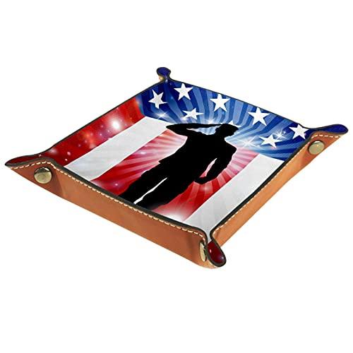 Bandeja de Valet de Cuero, Bandeja de Dados, Soporte Cuadrado Plegable, Plato Organizador de tocador para Cambiar Monedas, Bandera Estadounidense, 4 de Julio, día de la Independencia