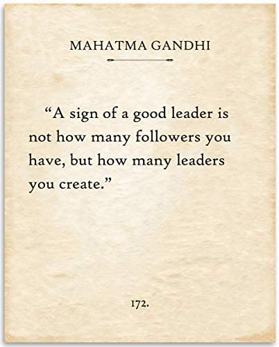 Gandhi A Sign Of A Good Leader 11x14 Unframed Typography Book Page Print Great Inspirational product image