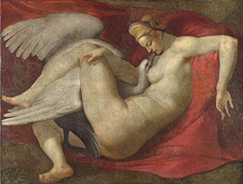 Berkin Arts Michelangelo Buonarroti Giclee Canvas Print Paintings Poster Reproduction(Leda and The Swan) #XFB