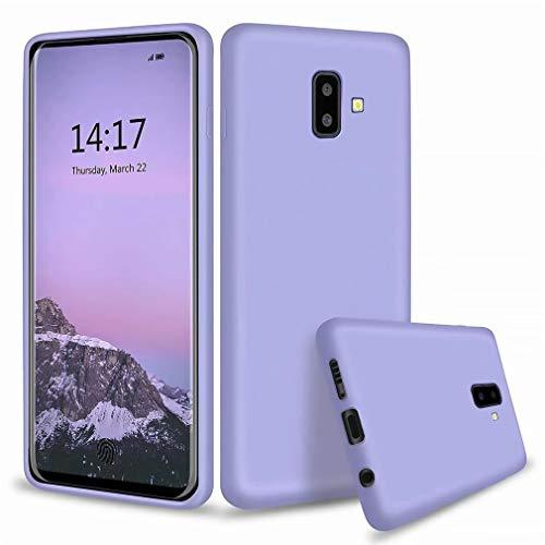 Ttimao Kompatibel mit Samsung Galaxy J6 Plus Hülle Flüssiges Silikon Gel Schutzhülle+1*Displayschutzfolie Anti-Schock Handyhülle mit Soft Microfiber Cloth Lining Kissen-Lila