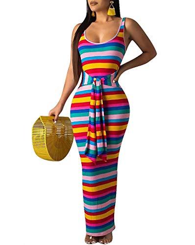 Remelon Womens Sexy Tank Sleeveless Ribbed Knit Rainbow Stripe Print Tie Waist Bodycon Party Maxi Long Dress Blue M