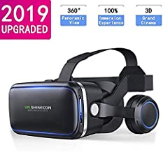 VR Headset for Cell Phone, Universal Adjustable 3D Virtual Reality Glasses for Mobile Games and Movies, Compatible 4.7-6 inch iPhone or Android, Works with Google Cardboard, Black