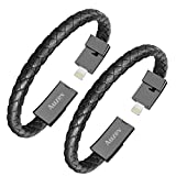 Auzev 2 Pack Charging Bracelets Cable Data Charger Cord Fashion Braided Leather Wrist Line Compatible with iPhone iPad, iPod, Air Pods(L(8.2') 2 Pack