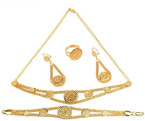 NC190 Conjunto de Collar de Monedas de Metal Dorado, Collar, Pulsera, Pendiente, Dama, África, Oriente Medio, Regalo de Boda