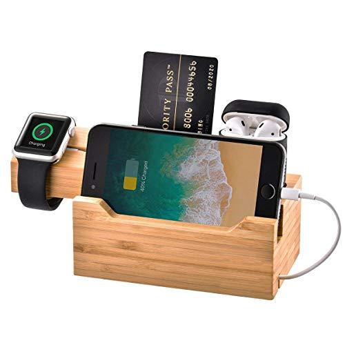 Base de carga de madera de bambú para múltiples dispositivos, 3 puertos USB, base de carga, soporte compatible con iPhone XS MAX XR X 8 7 6 6S Plus Apple Watch 2 3 4 iWatch AirPods Samsung Smartphones