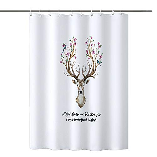 AVNICUD Duschvorhang, Antischimmel- & antibakterieller Duschvorhang mit Blütenhirschkopf, waschbar, wasserdicht, mit einem an der Duschstange befestigten Ring, 180 x 200 cm