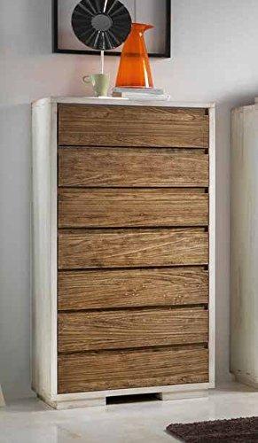 Commode en bois 7 tiroirs avec glissières amorties.