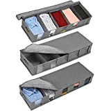 3 Pack Foldable Under Bed Storage Bags with 5 Adjustable Dividers and Clear Window , Closet Organizer, Underbed Storage, with Handles and Zipper Bags, (Grey)