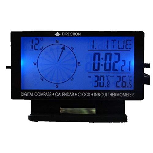DONGMAO 5in1 Termómetro de Coche Digital Retroiluminación Azul Compás de Coche Interior/Exterior Termómetro y Reloj Calendario con Auto Enchufe de Cigarrillo